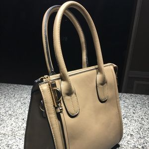 Forever 21 Mushroom Saffiano Leather Satchel